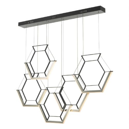 Hexagon 5lt Pendant Black LED, Double Insulated BXHEX0522-17